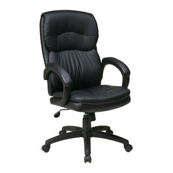 Office Star - Work Smart EC Series High Back Black Eco Leather Executive Chair w/Padded Arms - High back black eco leather executive chair with padded arms. One touch pneumatic seat height adjustment. 360 degrees swivel seat. Locking tilt control with adjustable tilt tension. Padded loop arms.