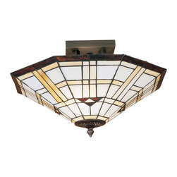 Meyda Tiffany - Meyda Tiffany 28284 Arrowhead Mission Semi Flush Mount Ceiling Light - Native American patterns are a commonly used theme in the southwest mission style. The Meyda Tiffany arrowhead mission shade has a triple arrowhead and border in bark brown granite textured glass.. Intersecting bands of sand beige on alabaster white complete this geometric stained glass shade, which is suspended from simple linear flush mount hardware in mahogany bronze.