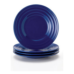 Rachael Ray - Rachael Ray Double Ridge Blue 8-inch Salad Plates (Set of 4) - This salad plate dinnerware set from Rachael Ray is a great tabletop solution for every occasion from simple family weeknight meals to entertaining friends with vibrant and colorful pieces. These plates are microwave and dishwasher safe for easy cleanup.