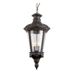 """Trans Globe Lighting - Trans Globe Lighting 40166 BK Imperial Leaf 24"""" Hanging Lantern - Build your empire lantern by lantern with this outdoor series exquisite in Roman Greek appeal. Rich with leaf and feather adornments, clear seeded glass softens shadows across natural landscaping."""