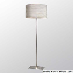 El Torrent - Neo Floor Lamp - Neo Floor Lamp features an oval shade made of cotton in White, Black or Cream, or linen in Taupe or Beige. Finish in Nickel. Available in a variety of other shade color and pattern options upon request. Requires one 60 watt 120 volt A19 medium base incandescent or one 26 watt 120 volt GU24 compact fluorescent lamp, not included. Dimensions: 17.75 inch width x 6.75 inch depth x 65 inch height. Shade is 17.75 inch width x 11.75 inch height.
