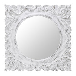 """Cooper Classics - Margate Aged White Square Mirror - Aged White Finish Mirror, Frame Dimensions: 31.5""""W X 31.5""""H, Mirror Dimensions: 21""""W X 21""""H, Finish: Aged White, Material: FruitWood, Beveled: No, Shape: Square, Weight: 24 lbs, Included: Brackets, Ready to Hang Vertically or Horizontally"""