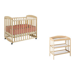 "Da Vinci - DaVinci Alpha Mini Rocking Mobile Wood Baby Crib Set With Changing Table in Natu - Da Vinci - Baby Crib Sets - M0598NM1302NPpkg - Change baby with this classic MDB changer. Easy to assemble. Easy to use. A versatile changer that will complete any nursery d��cor. This changer includes a 1"""" waterproof changer pad and a metal support bracket underneath the shelf to enhance baby safety. It features two shelves for added convenience. Safety strap also included. Made of Pine wood. Features:"