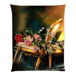 """Denise H. Cooperman - Belgium Linen Pillow - """"Chair Tilt"""" Luxurious Belgium Linen Pillow. Museum quality Nano print on Imported Belgium Linen. Fully inner lined with a down combo fill and zipper. Dry Clean only. Truly elegant pillow with an image from the original oil painting """"Chair Tilt"""". Each pillow is custom made to order. Typically there is one in stock but allow 4-6 weeks production if stock item is sold.  The Original, Giclees, and Limited Edition Prints are also available."""