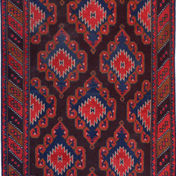 "ALRUG - Handmade Chocolate/Maroon Oriental Tribal Baluchi Rug 3' 7"" x 5' 9"" (ft) - This Afghan Baluchi design rug is hand-knotted with Wool on Wool."