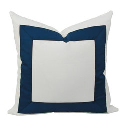 JoyWorkshoppe - Ribbon Border Pillow Cover - Your Color Choice - Classic border pillow cover in your choice of ribbon color on crisp white cotton duck. A lovely addition to any room whether traditional or contemporary. This timeless design will never go out of style.