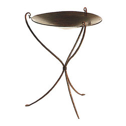 Hanging Copper Birdbath on Iron Stand - This bird bath looks like a piece of artwork by itself. The delicate legs remind me of flower steps with a huge flower at the top. I think the design makes it perfect to nestle in the middle of a patch of wild flowers.