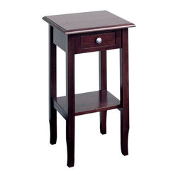 """Office Star - Wood Telephone Table - Merlin - The 29"""" tall Merlin Telephone Table features solid wood construction with a distressed Merlot finish that adds distinction to any home décor setting.  The table displays clean Shaker styling and provides a convenient storage drawer with a round metal knob.  Finally, the predicament of every style-conscious home owner has been solved.  What's the predicament?  Do you stick it to the wall, lay it haphazardly on the counter? * Solid wood construction . Distressed Merlot finish . Clean shaker styling . Easy to assemble. 16.5 x 15.5 x 29"""