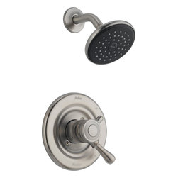 Delta - Delta T17278-SS Leland Monitor 17 Series Scald-Guard Shower Trim with Volume Con - Delta T17278-SS Leland Monitor® 17 Series Scald-Guard Shower Trim with Volume Control and Single Function Showerhead in StainlessThe Leland Bath Collection gracefully reinterprets the time-honored teapot design with decorative, traditional detailing.  Let the shower become your private sanctuary where body sprays and showerheads work in perfect harmony.  Delta Monitor® faucets help keep the water a constant temperature to ensure you and your family have a safe and comfortable shower experience day after day.  You emerge every day refreshed.  Offered in three popular finishes, the Leland Bath Collection comes with a full suite of coordinating accessories, providing a decorative look throughout the bath.Delta T17278-SS Leland Monitor® 17 Series Scald-Guard Shower Trim with Volume Control and Single Function Showerhead in Stainless, Features:• Only Delta faucets are equipped with Touch-Clean® soft, rubber nubbins that allow you to easily wipe away calcium and lime build-up with the touch of a finger.