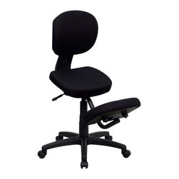 Flash Furniture - Flash Furniture Office Chairs Kneeling Chairs X-GG-0341-LW - Get the comfort and support of a Kneeling Chair with the functionality of a conventional Task Chair. Regain your body's natural posture with this ergonomic kneeling chair with included back. Kneeling chairs sit you in a position to allow your diaphragm to move efficiently and promote better breathing and blood circulation. [WL-1430-GG]