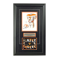 "Heritage Sports Art - Original art of the NCAA 1971 Tennessee Volunteers uniform - This beautifully framed NCAA football piece features an original piece of watercolor artwork glass-framed in an attractive two inch wide black resin frame with a double mat. The outer dimensions of the framed piece are approximately 17"" wide x 28"" high, although the exact size will vary according to the size of the original piece of art. At the core of the framed piece is the actual piece of original artwork as painted by the artist on textured 100% rag, water-marked watercolor paper. In many cases the original artwork has handwritten notes in pencil from the artist. Simply put, this is beautiful, one-of-a-kind artwork. The outer mat is a rich textured black acid-free mat with a decorative inset white v-groove, while the inner mat is a complimentary colored acid-free mat reflecting one of the team's primary colors. The image of this framed piece shows the mat color that we use (Orange). Beneath the artwork is a silver plate with black text describing the original artwork. The text for this piece will read: This is an original, one-of-a-kind watercolor painting of the 1971 Tennessee Volunteers uniform and honors the #7 worn by legend Condrege Holloway who led the team in the 1972-74 seasons and was used in the creation of this Tennessee Volunteers uniform evolution print and thousands of Tennessee products that have been sold across North America. This original piece of art was painted by artist Marguerite Perry for Maple Leaf Productions Ltd. Beneath the silver plate is a 6.5"" x 7"" reproduction of a uniform evolution print that celebrates the history of the team. The print beautifully illustrates the chronological evolution of the team's uniform and shows you how the original art was used in the creation of this print. If you look closely, you will see that the print features the actual artwork being offered for sale. The 6.5"" x 7"" print is shown above. The piece is framed with an extremely high quality framing glass. We have used this glass style for many years with excellent results. We package every piece very carefully in a double layer of bubble wrap and a rigid double-wall cardboard package to avoid breakage at any point during the shipping process, but if damage does occur, we will gladly repair, replace or refund. Please note that all of our products come with a 90 day 100% satisfaction guarantee. Each framed piece also comes with a two page letter signed by Scott Sillcox describing the history behind the art. If there was an extra-special story about your piece of art, that story will be included in the letter. When you receive your framed piece, you should find the letter lightly attached to the front of the framed piece. If you have any questions, at any time, about the actual artwork or about any of the artist's handwritten notes on the artwork, I would love to tell you about them. After placing your order, please click the ""Contact Seller"" button to message me and I will tell you everything I can about your original piece of art. The artists and I spent well over ten years of our lives creating these pieces of original artwork, and in many cases there are stories I can tell you about your actual piece of artwork that might add an extra element of interest in your one-of-a-kind purchase."