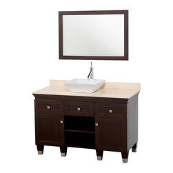 Wyndham Collection - Premiere Vanity in Espresso, Ivory Marble Top, White Porcelain Sink - A bridge between traditional and modern design, and part of the Wyndham Collection Designer Series by Christopher Grubb, the Premiere Single Vanity is at home in almost every bathroom decor, blending the simple lines of modern design like vessel sinks and brushed chrome hardware with transitional elements like shaker doors, resulting in a timeless piece of bathroom furniture.