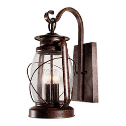 Savoy House - Savoy House Smith Mountain Outdoor Lighting Fixture - Shown in picture: Exterior Fixture in New Tortoise Shell Finish mimics an antique lantern - clear seeded glass