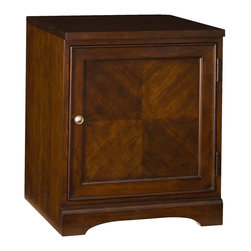 """Hammary - Brighton Right Door Base - """"A beautiful collaboration of traditional & modern ideas, designs & functionality influenced this transitional collection. Crafted of Poplar Solids, Highly Figured & Cathedral Walnut Veneers in a Dark Mocha Brown finish with Polished Nickel finished hardware"""