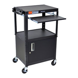 "Luxor - Luxor Presentation Cart - AVJ42KBC - The Luxor AVJ42 Series are excellent multipurpose AV / Utility Carts.  24""W X 18""D X 24""-42""H Adjustable height from 24"" to 42"" in 2"" increments. Shelves are 24""W x 18""D Roll formed shelves with powder coat paint finish Tables are robotically welded. Cables pass through holes. 1/4"" retaining lip around each shelf. 3-outlet, 15' UL and CSA listed electrical assembly with cord plug snap. 4"" ball bearing casters, two with locking brakes. Includes safety mats.  This black AVJ42KBC is Adjustable height cart with Cabinet And Keyboard and mouse shelf. Keyboard Tray Measures: 18 3/4"" x 11 3/4"". The Cabinet model has reinforced locking doors with full length piano hinges and is made from 20 gauge steel with inner dimensions 17 1/2'D x 24""W x 16 5/8""H  Optional Big wheel models available.  Optional drop leaf side shelves.   Built to last with a lifetime warranty. Made in USA"