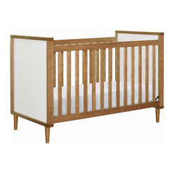 BabyLetto - BabyLetto Skip 3 in 1 Crib in Chestnut and White Finish - BabyLetto - Cribs - M7501CTW - With classic mid-century details, like gently tapered feet and framed end panels, our fresh Skip 3-in-1 Convertible Crib is as stunning as it is versatile. Designed in partnership with acclaimed interior and product designer, Jennifer DeLonge, the Skip Crib is destined to be an instant hit that will lend your nursery years of beautiful comfort. Converting to both toddler and day beds, the Skip 3-in-1 Convertible Crib grows with your baby (toddler rail included). The Skip Crib also takes baby's growth into account with four adjustable mattress positions, so baby can always rest at a safe level that is comfortable for mom and dad. Babyletto's lower crib profiles also boost the comfort and convenience of fixed-side cribs for parents. The Skip Crib is crafted from sustainable New Zealand pine wood, and finished in a beautiful chestnut with white panels. The Skip 3-in-1 Convertible Crib pairs exceptionally with our fresh Skip 3 Drawer Changer Dresser.