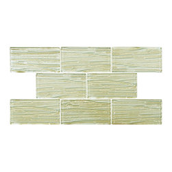 None - SomerTile Arbor Subway Cream Glass Mosaic Tile (Case of 80) - Renovate the look of your kitchen,bathroom or outdoor dining area with this classic subway mosaic tile from SomerTile. Constructed of glass with a unique metallic glazing.