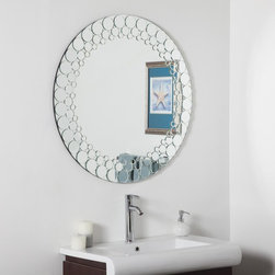 Decor Wonderland - Circles Bathroom Wall Mirror - 35 in. diam. Multicolor - SSD005 - Shop for Bathroom Mirrors from Hayneedle.com! Light up your lavatory with the Circles Bathroom Wall Mirror - 35 in. diam. With an expansive round glass surface and ornate edge of 30 hand-cut beveled round mirrors this wall accent reflects and refracts in dazzling fashion. With every circle cut by hand no two mirrors will be identical making this a one-of-a-kind decoration you can show off with pride.About Decor Wonderland of USDecor Wonderland US sells a variety of living room and bedroom furniture mirrors lamps home office necessities and decorative accessories. Decor Wonderland strives to add variety to their selection so that every home is beautifully and perfectly decorated to suit their customer's unique tastes.