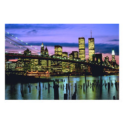Custom Photo Factory - Manhattan Skyline Against Brooklyn Bridge, New York Canvas Wall Art - Manhattan Skyline Against Brooklyn Bridge, New York  Size: 20 Inches x 30 Inches . Ready to Hang on 1.5 Inch Thick Wooden Frame. 30 Day Money Back Guarantee. Made in America-Los Angeles, CA. High Quality, Archival Museum Grade Canvas. Will last 150 Plus Years Without Fading. High quality canvas art print using archival inks and museum grade canvas. Archival quality canvas print will last over 150 years without fading. Canvas reproduction comes in different sizes. Gallery-wrapped style: the entire print is wrapped around 1.5 inch thick wooden frame. We use the highest quality pine wood available. By purchasing this canvas art photo, you agree it's for personal use only and it's not for republication, re-transmission, reproduction or other use.