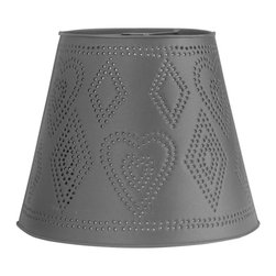 Renovators Supply - Lamp Shades Black Tin Lamp Shade Heart Punched 11 H x 13 1/2 Dia - Lamp Shades: Our Heart Punched Tin Lamp Shade combines rustic Colonial tin with a whimsical light pattern.  Measures 11 inches high, a top diameter of 8 inches and a bottom diameter of 13 1/2 inches.