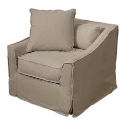 Kathy Kuo Home - Kelvin French Cottage Armchair Stonewash Denim Canvas - Looking for that one comfy chair you can claim as your own? Curl up in this ample armchair, which is smartly upholstered in a beige stonewashed canvas, and prepare to never want to leave. This classic armchair with slightly distressed edges will be universally pleasing in your living room or den.