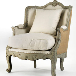 Adele Love Chair - Off White Cotton - Sweetly detailed with curls and tendrils of a low-relief vine, the frame of the Adele Love Chair comes to a delicate shell-accented peak at the back, then wraps around to provide a cozy signature resting spot ideal for a bedroom or library. This refined armchair combines cabriole legs with trifid-style feet for a faintly fantastical take on formal tradition.