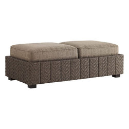 Lexington - Tommy Bahama Blue Olive Storage Ottoman - The double ottoman benefits more people in the relaxation experience. In addition, the storage option provides additional function with convenient access to the space below. The double cushion attaches to the frame keeping them in their place.