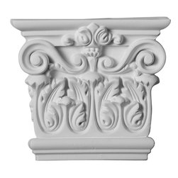 """Ekena Millwork - 5 3/4""""W x 5 1/8""""H x 1 3/4""""P Corinthian Capital - 5 3/4""""W x 5 1/8""""H x 1 3/4""""P Corinthian Capital. Our appliques and onlays are the perfect accent pieces to cabinetry, furniture, fireplace mantels, ceilings, and more. Each pattern is carefully crafted after traditional and historical designs. Each polyurethane piece is easily installed, just like wood pieces, with simple glues and finish nails. Another benefit of polyurethane is it will not rot or crack, and is impervious to insect manifestations. It comes to you factory primed and ready for your paint, faux finish, gel stain, marbleizing and more."""