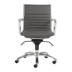 Euro Style - Euro Style Dirk Low Back Office Chair 00674GRY - High or low. Armrests or not, the Dirk design is very popular for all the right reasons. The front of the seat and the top of the back are one-piece sections for a finished look. The inner seat and lower back are flat bungee bands which offer outstanding comfort that is famous everywhere in the known world.