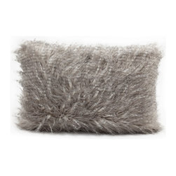 Nourison - Nourison Mina Victory Grey 12 x 18-inch Faux Fur Throw Pillow - Fashionable and decadent,this fabulous faux fur throw pillow features a plush polyester fill for added softness that will bring a sense of luxury to your decor. Indulge your senses while creating a lavish ambiance with this glorious throw.