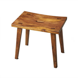 Holy Land Wood Stool - Kick it up a notch without going overboard. This versatile stool adds visual appeal that�s subtle yet enticing in its Indian sheesham wood construction, while its neutral colors blend effortlessly with any d�cor. From footstool to book rest to additional seat, it won't let you down.