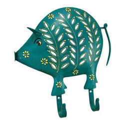 Distressed Finish Teal Pig 2 Hook Wall Mounted Coat Rack - This beautiful teal green pig 2 hook wall mounted hanger can be used for many different things. In the kitchen, it can be a mug rack for coffee mugs. In the hallway, you can hang your coats and sweaters from it. In the bedroom, hang hand scarves and other accessories! The hanger measures 10 1/2 inches tall, 10 inches wide, and features an artificially aged teal finish, with off-white leaf and spot accents. It makes a great gift for pig lovers.