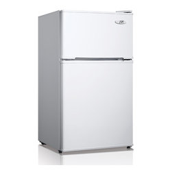 SPT - SPT Energy Star 3.1 Cubic Foot Double Door White Refrigerator - The flush back,compact design of this SPT mini refrigerator makes it ideal for college dorm rooms or storing your lunch at the office. The unit features separate freezer and fridge compartments,an adjustable thermostat and a fresh food section.