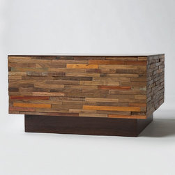 Landon Mixed Wood Square Coffee Table - Our Mixed Wood Square Coffee Table combines contemporary design with old, rustic reclaimed wood to make a unique, eco-friendly statement. This unique coffee table is handcrafted from exotic demolition hardwoods such as salvaged wood from downed telephone poles and from 100-year-old flooring as well as walnut. Bring rustic charm to your livingroom.