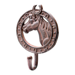 Creative Co-op - Cast Iron Horse Wall Hook - Hang this beautiful rustic horse hook to hold coats, bags, etc. A great accent to any room! Can hold up to 50 lbs.