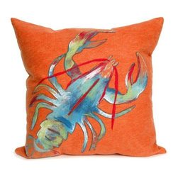 Lobster Orange Pillow - The highly detailed painterly effect is achieved by Liora Manne's patented