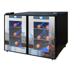 Vinotemp - 12-Bottle Dual-Zone Touch Screen Thermoelectric Mirrored Wine Cooler - Store your wine collection in the sleek 12-Bottle Dual-Zone Touch Screen Thermoelectric Wine Cooler by Vinotemp. This modern wine cooler features two compartments with independent controls that enable you to store your red and white wines at different temperatures. This energy saving unit holds up to 6 bottles per side on four sturdy chrome shelves. The touch screen control panels located on the doors' exterior make it easy to maintain the ideal environment for wine storage. A black cabinet and dual-Pane glass doors with recessed handles make this freestanding cooler an attractive addition to any space. Vinotemp's exclusive Mirrored Wine Coolers combine modern cooling technology with high style and are a fun alternative to traditional stainless steel.