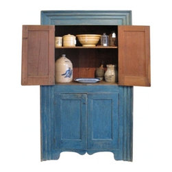 EcoFirstArt - Hudson Valley Cupboard in Original Blue Paint - You just might be in the presence of Old Mother Hubbard's most cherished piece of furniture. With influences of its Dutch lineage wholly apparent, such as its bold blue shade and triple-stepped picture frame molding, this cabinet is rife with old-world charm and an undeniable air of industrious know-how.