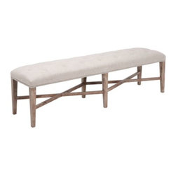 Z Gallerie - Rencourt Tufted Bench - Linen w/White Wash Legs - The Rencourt Tufted Bench is a Z Gallerie exclusive. Upholstered in a beautiful natural tone to accommodate almost any dining setting, the fabric is made of a linen/rayon blend for easy cleaning. Individually applied antique nail heads adorn the frame of the upholstery along with a button tufted seat gives distinctive flair and character. The Rencourt Tufted Bench will seat four adults. You may also choose to use this bench at the foot of your bed which will easily complement your bedroom.