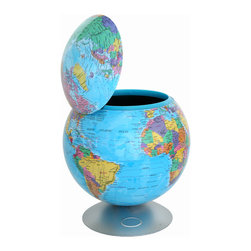 iTouchless - iTouchless Sensor Activated 360° Hidden Storage Container Globe - iTouchless Sensor 360° Globe Hidden Storage Container equipped with a 360° activation sensor that opens the container top automatically with the approach of the hand from all directions. It is a hidden storage container that is big enough to hide anything you don't want out in the open such as office supplies, accessories, etc. It can also be used as storage for candies, cookies, snacks, and chips, table top trash can or anything you can be creative for storage. When your hand is within 4 inches of the Globe, the top will open for 5 seconds and then close automatically. It is completely touch-free operation. It is an actual rotary political map used for endless journeys of fun and learning for both kids and adults. Great gifts for any home, office, college, and parents.