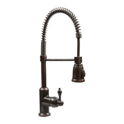 Tru Faucets - Spring Pull Down Kitchen Faucet in Oil Rubbed - Solid Brass Construction . Drip Free Ceramic Disc Cartridges . Finish: Oil Rubbed Bronze . Solid Brass Support Bar . Overall Height: 21 in. . Overall Width: 5.75 in. . Spout Height: 7.25 in. . Spout Reach: 8.75 in. . Spout Swivel: 360 Degrees . Spray Options: Stream and Spray . Maximum Deck Thickness: 2 in. . Number of Handles: 1 . Faucet Weight: 5.6 lbs. . Flow Rate: 2.2 GPM . Valve Type: Ceramic Disc . Installation Type: Deck-Mount . Faucet Holes: 1 . Eschutcheon: None . Connections: Standard US Plumbing Connections . NSF/ANSI, CUPC, ADA, Low Lead Compliant (California AB-1953) . Warranty: Limited Lifetime . Mounting Hardware . Hot & Cold Waterlines . Installation and Care InstructionsTru Faucets by Premier Copper Products announces the first faucet line made especially for copper sinks. Faucets come in a perfect matching Oil Rubbed Bronze finish for any copper sink. Although these faucets were made with copper sinks in mind, they are also a great match to any other type of sink such as stainless steel, porcelain, stone, glass and more...
