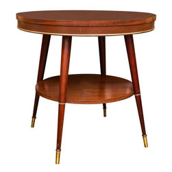 Used Faux Rosewood Table - Elegant and refined, this faux rosewood table could be used in variety of different interior applications. It's perfectly sized to be a bar table or a large occasional table between two club chairs. There is some slight wear on the table that does not diminish it's overall feel or appearance in any way.