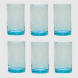 Tag Everyday - Bubble Glass Tumbler in Aqua - Set of 6 - Set of 6. Straight-sided design. Handmade. Dishwasher safe. Capacity: 18 oz.. 3.25 in. Dia. x 5.75 in. H