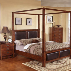 None - Sunny 3-piece Honey Oak Upholstered Bed Set - Give your home a touch of traditional elegance with this stylish Sunny 3-piece bed set. Finished in a warm honey oak, this four poster bed set features dark brown upholstered panels and comes complete with a chest and nightstand.