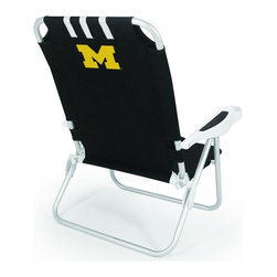 "Picnic Time - University of Michigan Monaco Beach Chair Black - The Monaco Beach Chair is the lightweight, portable chair that provides comfortable seating on the go. It features a 34"" reclining seat back with a 19.5"" seat, and sits 11"" off the ground. Made of durable polyester on an aluminum frame, the Monaco Beach Chair features six chair back positions and an integrated cup holder in the armrest. Convenient backpack straps free your hands so you can carry other items to your destination. Rest and relaxation come easy in the Monaco Beach Chair!; College Name: University of Michigan; Mascot: Wolverines; Decoration: Digital Print"