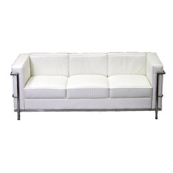 Modway - Le Corbusier LC2 Leather Sofa in White - Urban life has always a quandary for designers. While the torrent of external stimuli surrounds, the designer is vested with the task of introducing calm to the scene. From out of the surging wave of progress, the most talented can fashion a forcefield of tranquility.