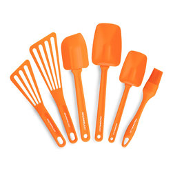 Rachael Ray 6 Piece Utensil Gadget Set Orange - This versatile Rachael Ray kitchen utensil set has all the pieces you need for a well-equipped kitchen. Fun and fantastic  these tools are the ultimate must-haves.Set Includes                        Pastry brush            Medium spoonula            Large spoonula            Large Lil' Devil            Small nylon spatula            Large nylon spatula                        Product Features                        Perfect for nonstick cookware            Dishwasher safe            Durable  lightweight handles are heat safe to 350 DegreesF (please note - handle may melt if rested on the side of a hot pan)            High heat silicone spoonula  pastry brush and lil' devil heads are heat safe to 500 DegreesF. Nylon spatulas are heat safe to 400 DegreesF.