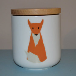 Fox Medium Ceramic Canister With Wood Lid by Pousse Pousse Citron - There's a fox in my kitchen! This is the perfect place to store sugar, flour or cereal.
