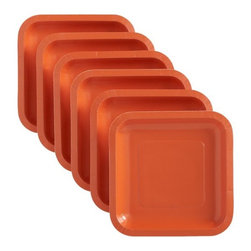 Orange Deep Paper Plates, Set of 18 - These are the perfect disposable plates for an orangey outdoor party.