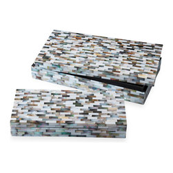 Kathy Kuo Home - Key Biscayne Mother of Pearl Coastal Beach Mosaic Decorative Boxes- Set of 2 - Envelop your keepsakes in this mother of pearl mosaic box. Available in two sizes, the treasure chest gleams from inlaid iridescence, which is offset by a sleek black interior finish. Now that's sitting pretty.
